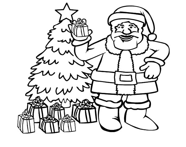 Santa Claus And Beautiful Christmas Tree Coloring Pages
