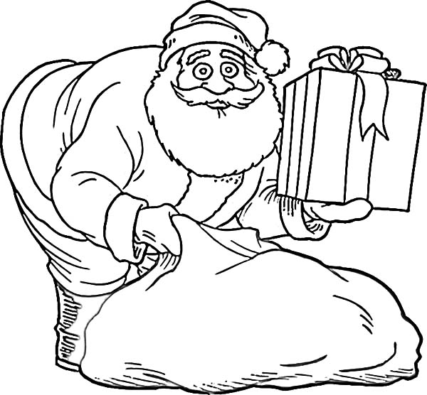 santa claus and beautifuly wrapped gift coloring pages