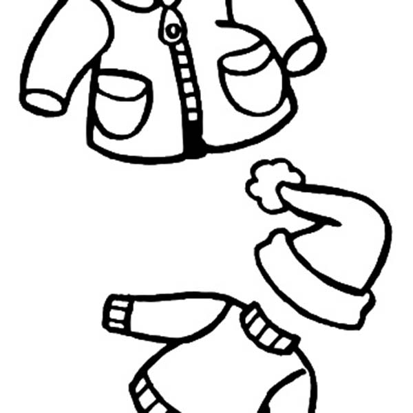 Winter Warm Clothes For Childrens In Season Coloring Page