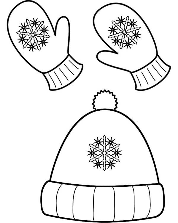 Winter Season Hat And Mittens In Coloring Page