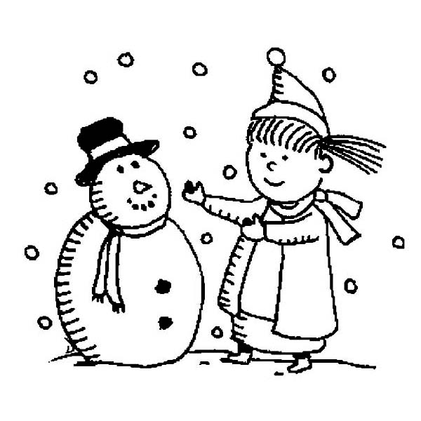 Mr Snowman On Christmas Touching A Snowflake Coloring Page: Young Little Girl Want To Hug Mr Snowman On Winter Season
