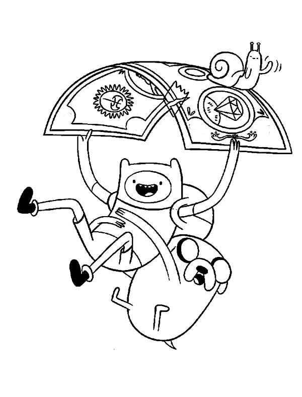 adventure time finn and jack floating with a piece of paper coloring pages - Adventure Time Coloring Pages