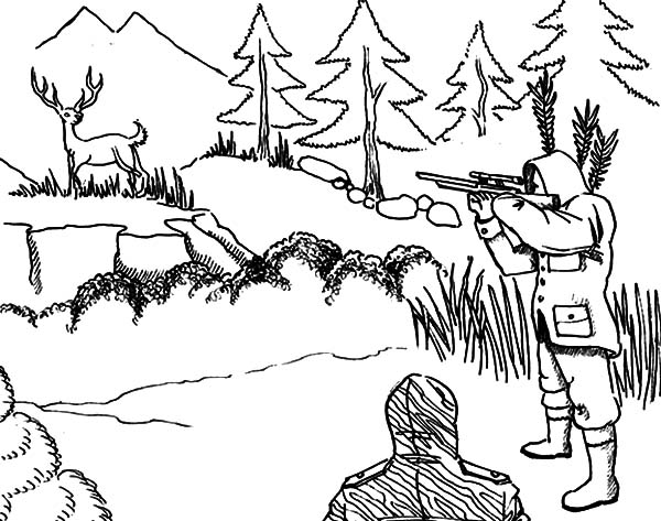aiming at deer hunting coloring pages - Hunting Coloring Pages