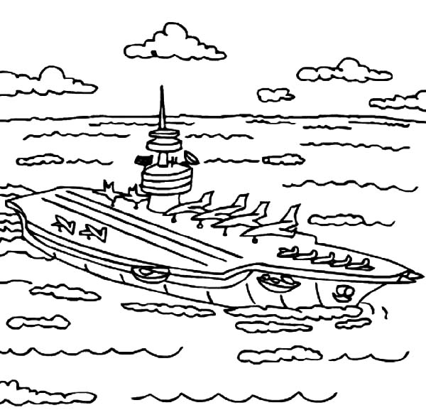 Aircraft Carrier On The Sea Coloring Pages