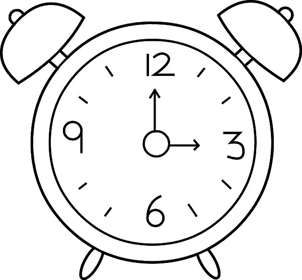 Alarm clock point to 3 oclock coloring pages