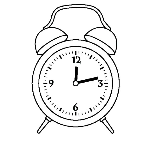 Alarm Clock Twelve OClock Coloring Pages