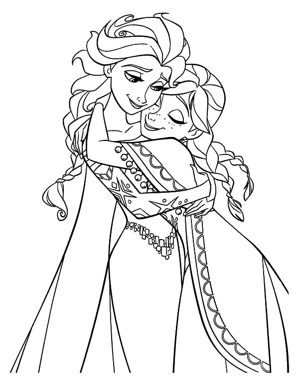 Anna Hugging Elsa the Snow Queen Coloring Pages Coloring Sky