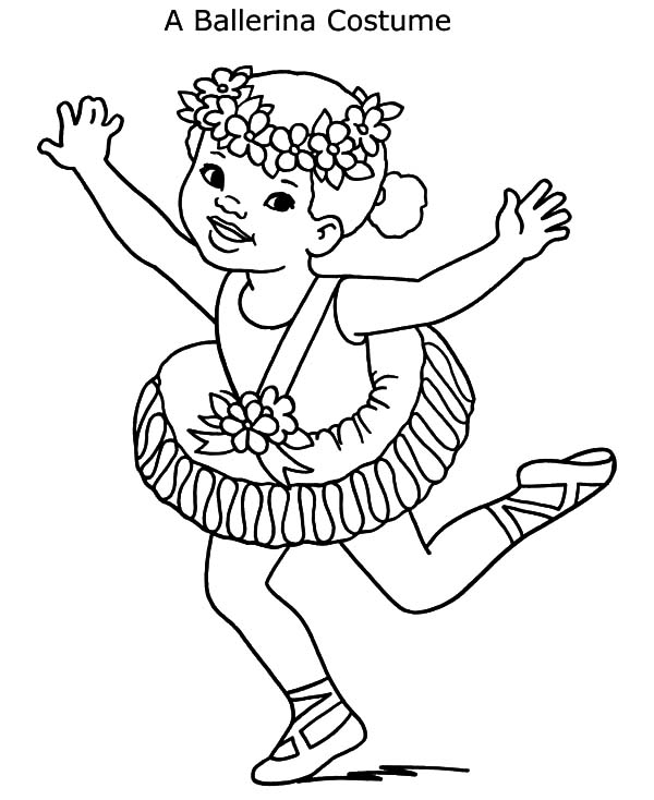Ballerina Girl Costume Coloring Pages | Coloring Sky
