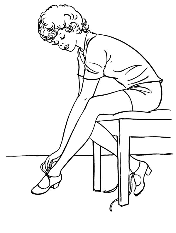 Ballerina Girl Put On Ballet Shoes Coloring Pages