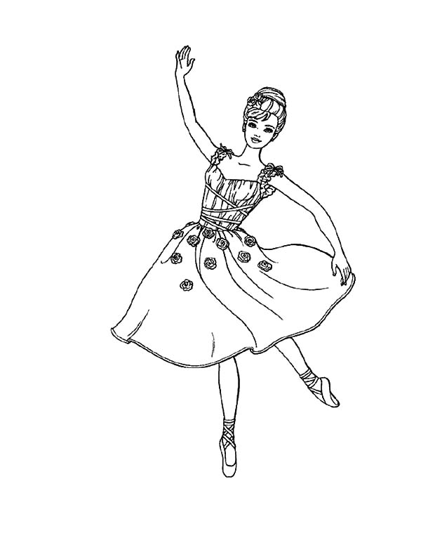 Barbie Ballerina Girl Coloring Pages | Coloring Sky