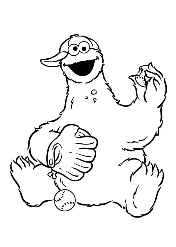 Baseball Cookie Monster Coloring Pages
