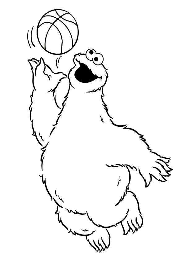Basketball Cookie Monster Coloring Pages