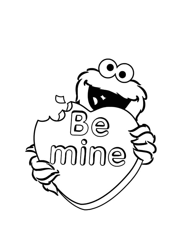 Be Mine Valentine Cookie Monster Coloring Pages: Be Mine Valentine ...