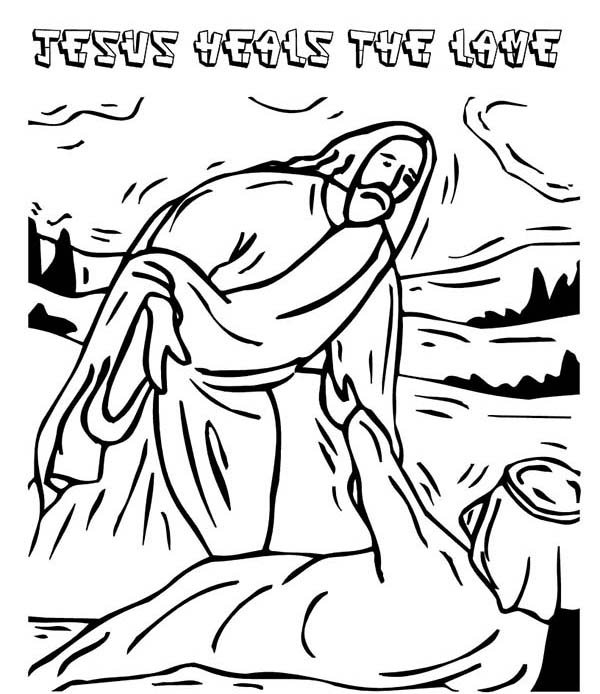 Bible Jesus Heals Lame Helping Others Coloring Pages