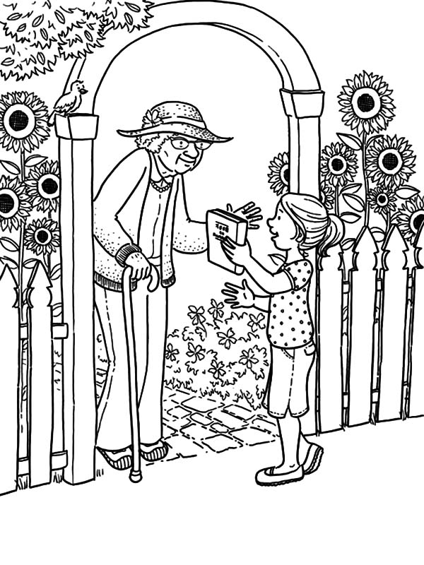 Borrowing Book for Elder Helping Others Coloring Pages | Coloring Sky