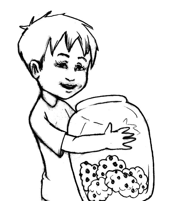 Boy Holding Cookie Jar Coloring Pages