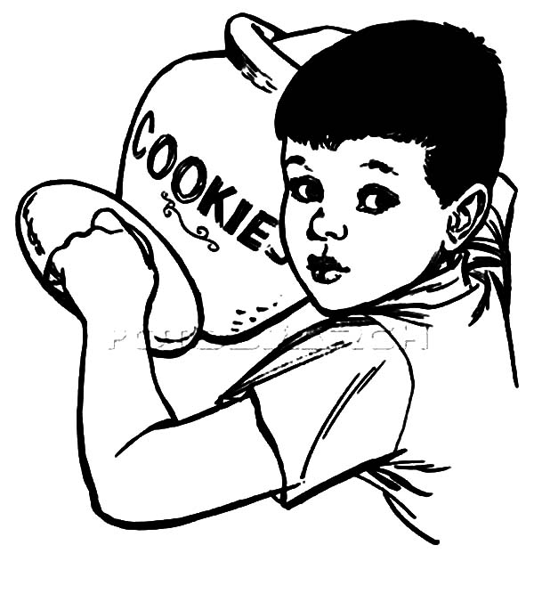 boy open cookie jar coloring pages - Cookie Monster Head Coloring Page
