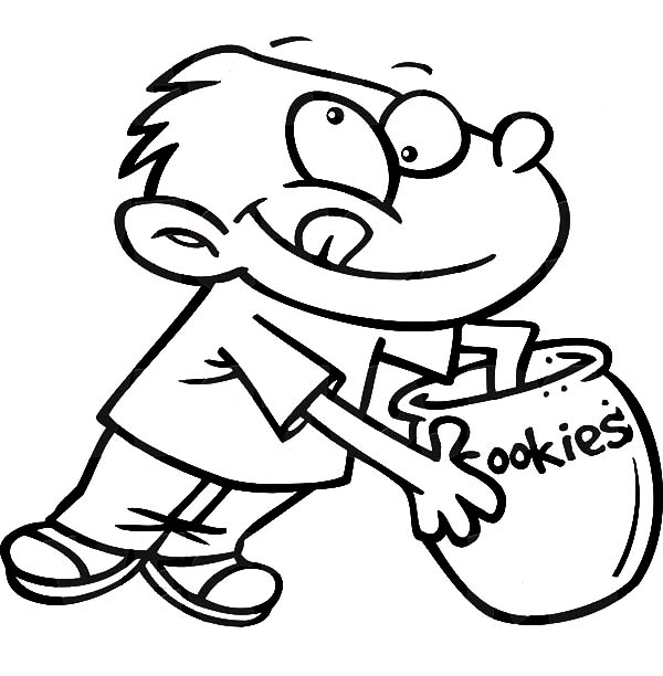 Boy Reaching Hand In A Cookie Jar Coloring Pages