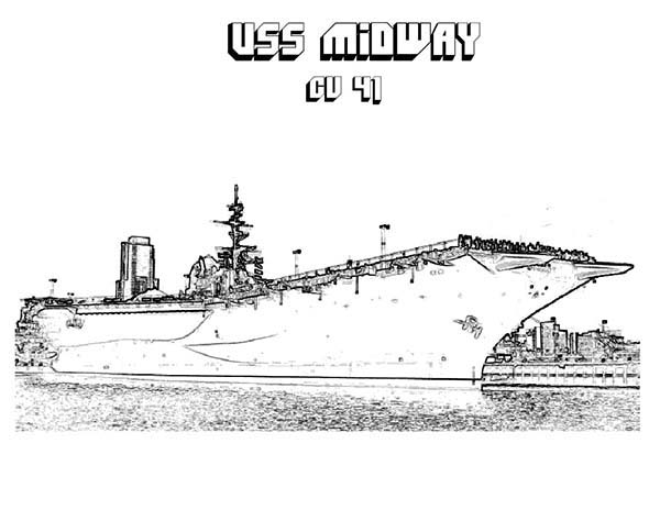 cv 41 midway aircraft carrier ship coloring pages