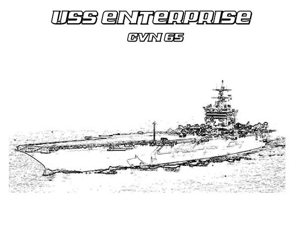 CVN 65 Enterprise Aircraft Carrier Ship Coloring Pages