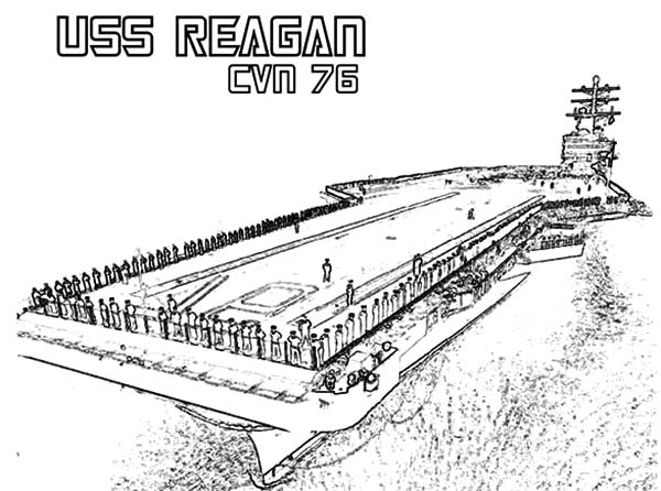 CVN 76 Reagan Aircraft Carrier Ship Coloring Pages