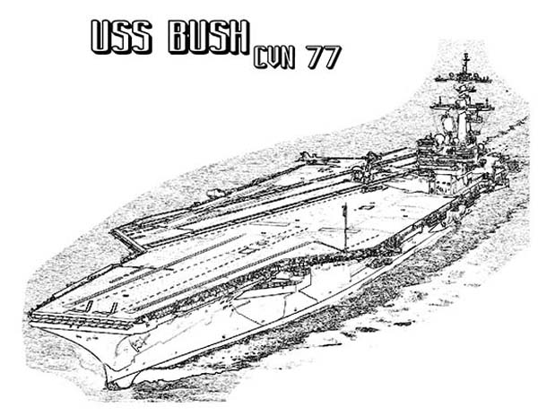 cvn 77 bush aircraft carrier ship coloring pages
