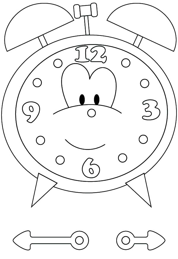 Cartoon Of Alarm Clock Coloring Pages