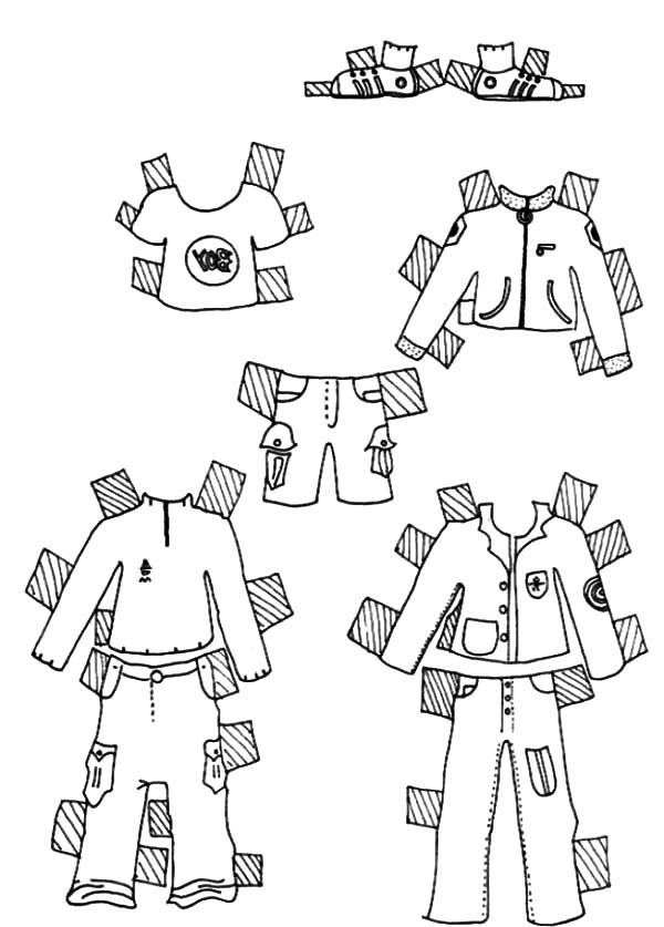 Clothes for Boys Doll Dress Coloring Pages | Coloring Sky