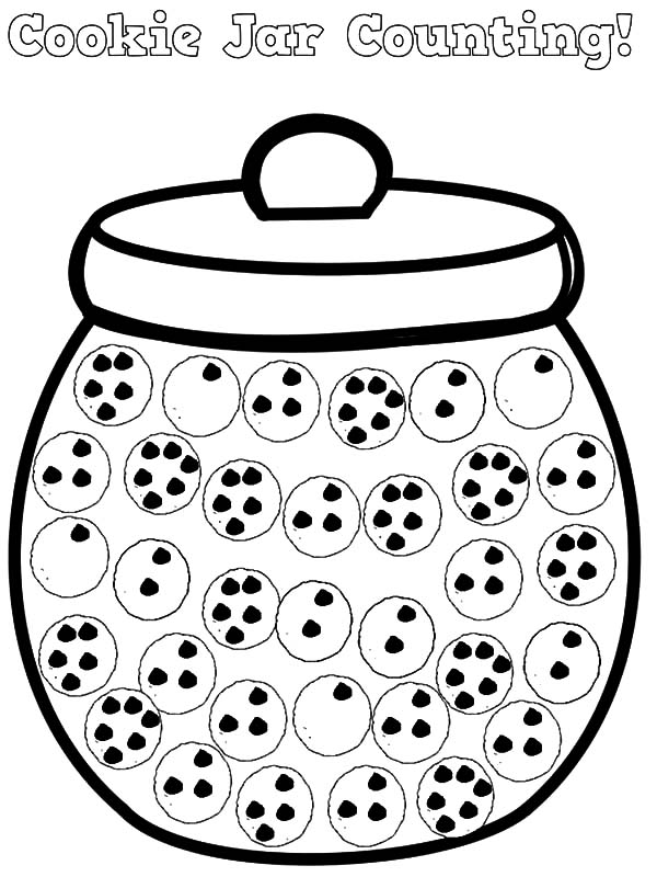 Cookie Jar Counting Coloring Pages | Coloring Sky