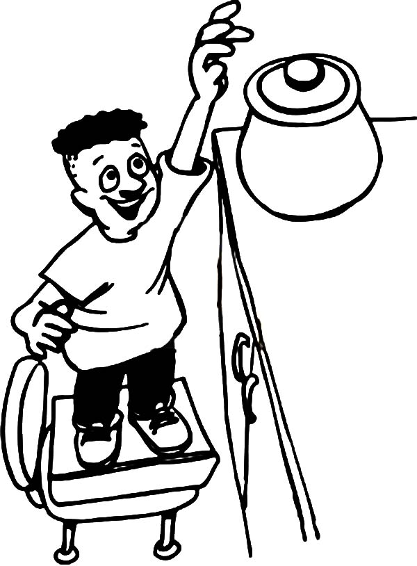 Cookie Jar On Chair Reaching For Coloring Pages