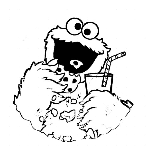 cookie monster drink soda club coloring pages