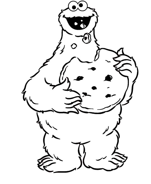 cookie monster eat big cookie coloring pages - Cookie Monster Coloring Pages