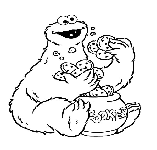 cookie monster coloring page - cookie monster eat cookies from cookie jar coloring pages