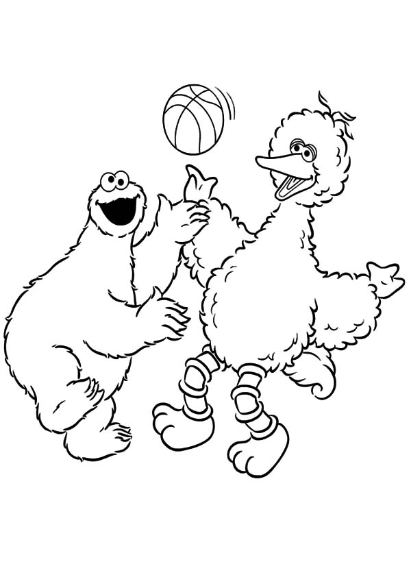 cookie monster play basketball coloring pages - Cookie Monster Face Coloring Pages