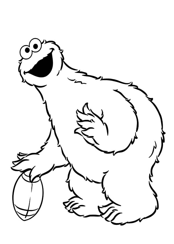 Cookie Monster Play Football Coloring Pages | Coloring Sky