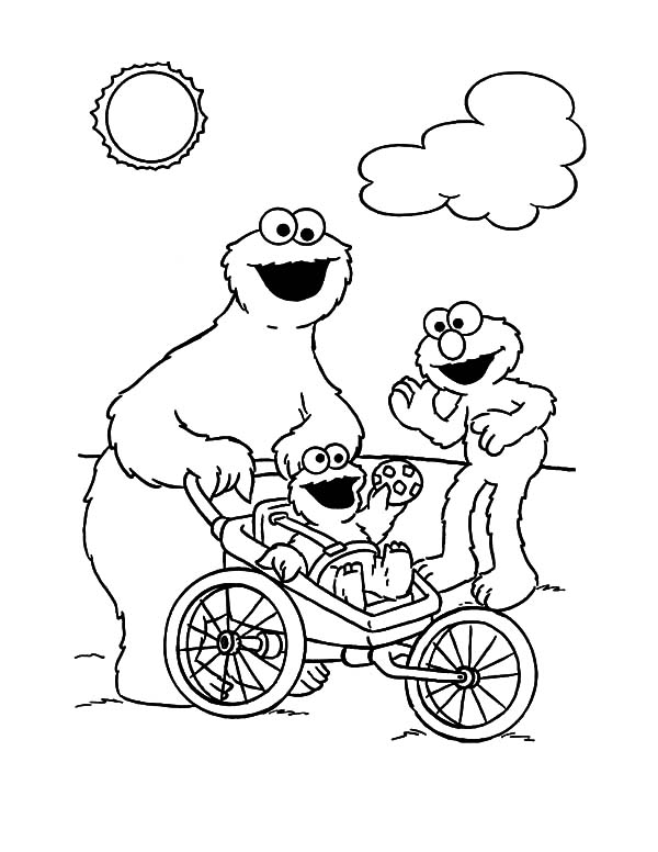 cookie monster take his baby outside coloring pages