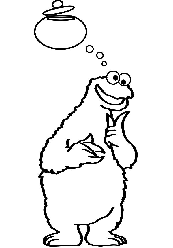 Cookie Monster Thinking About Jar Coloring Pages