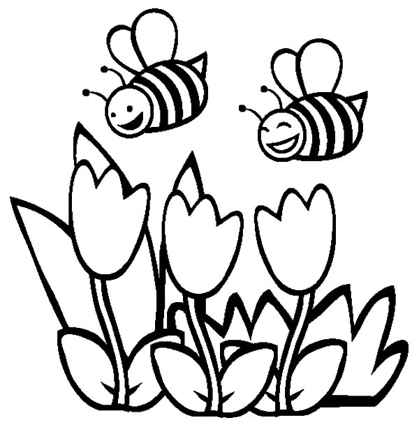 honey bee couple of honey bee and tulips coloring pages couple of honey bee