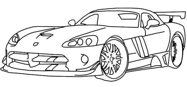 Dodge Race Car Viper Coloring Pages | Coloring Sky