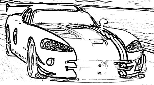 Dodge Viper ACR Sport Car Coloring Pages | Coloring Sky