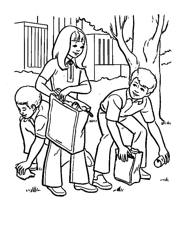 coloring pages children helping - photo#6