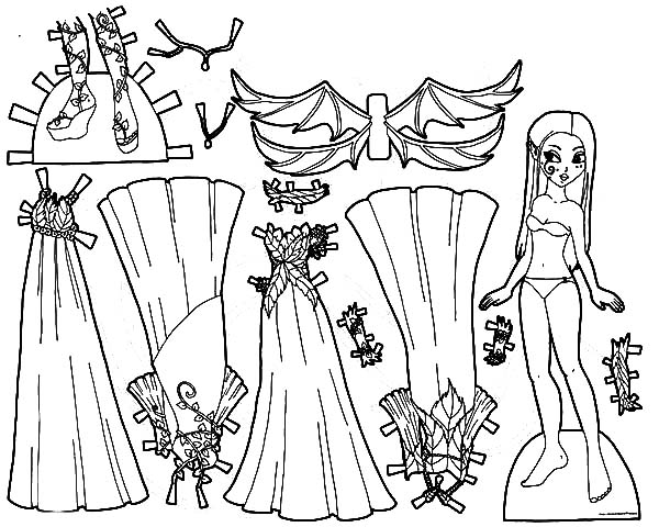 Fabulous Doll Dress Coloring Pages