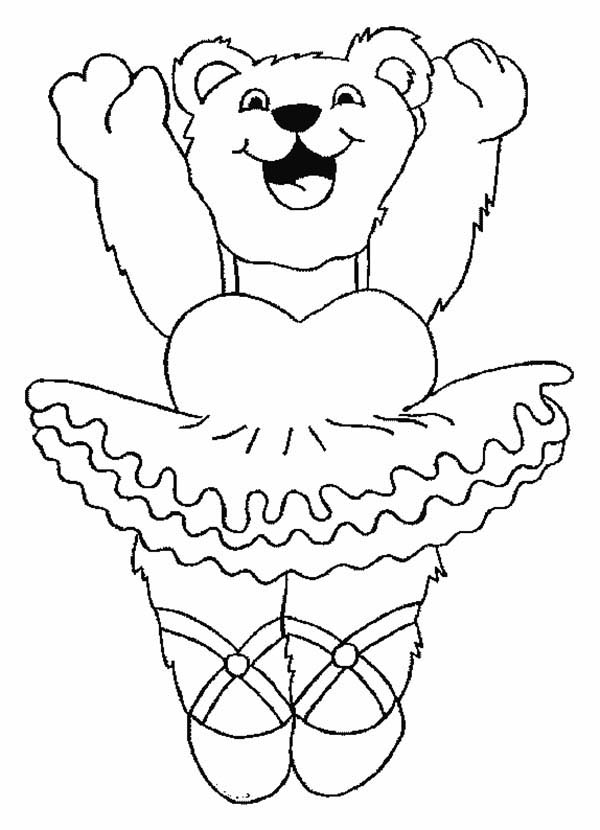 Female Bear Love Ballet Coloring Pages | Coloring Sky