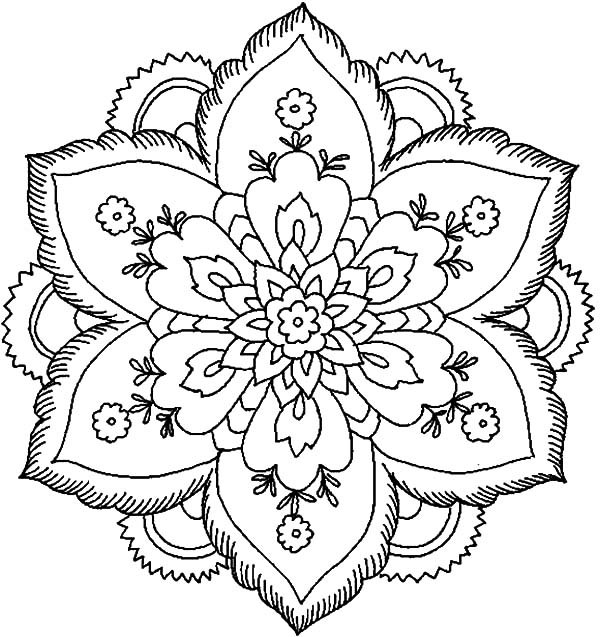 Coloring Pages Abstract Flowers : Abstract flower coloring page sheets pages