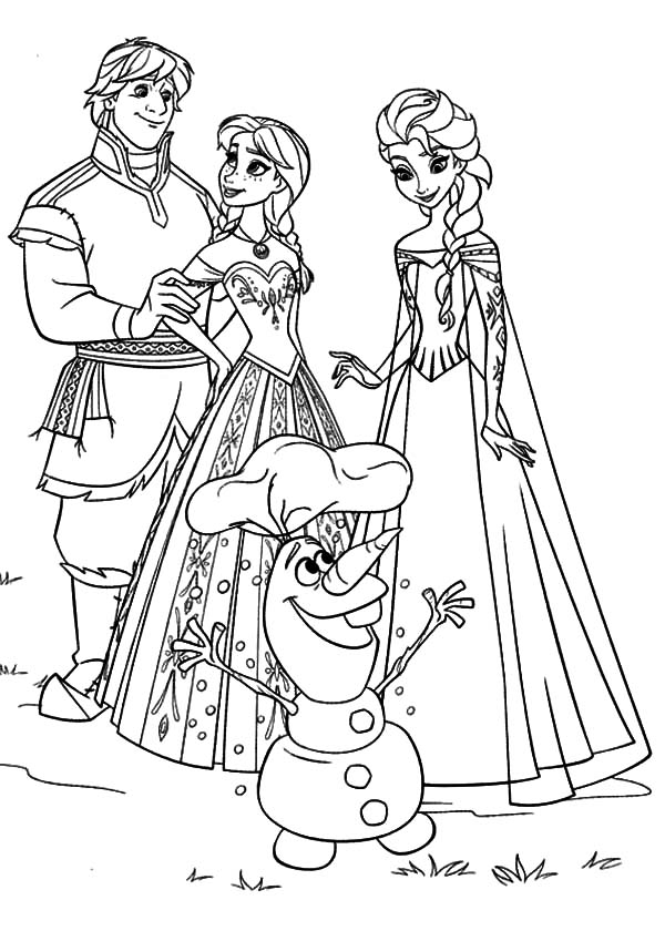 Elsa Frozen Anna Kristoff Olaf Coloring Pages