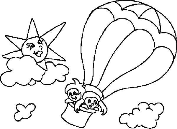 greeting the sun from hot air balloon coloring pages - Hot Air Balloon Coloring Page
