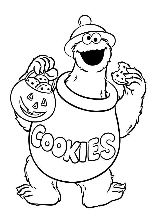 Halloween Cookie Monster Coloring Pages Coloring Sky