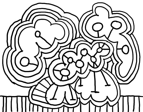 Happy Family Abstract Coloring Pages