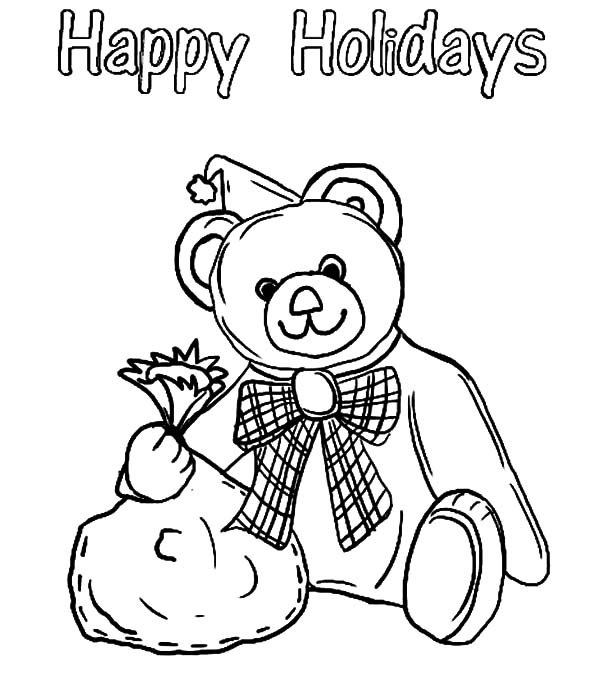 coloring pages happy holidays - happy holidays bear colouring pages page 3 sketch coloring