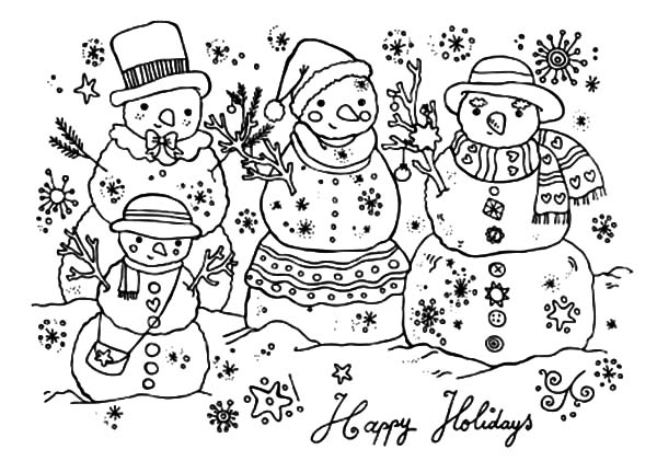 Happy Holidays Three Snow Man Coloring Pages